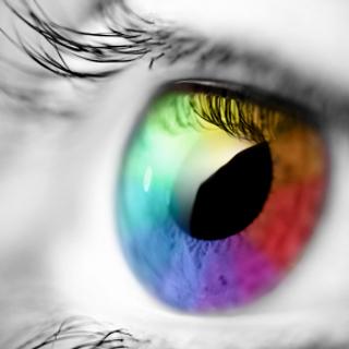 Eyeball with colorful iris